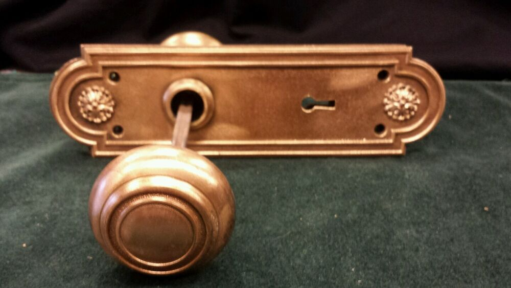 Vintage Brass Bronze Decorative Door Knob Set Oval