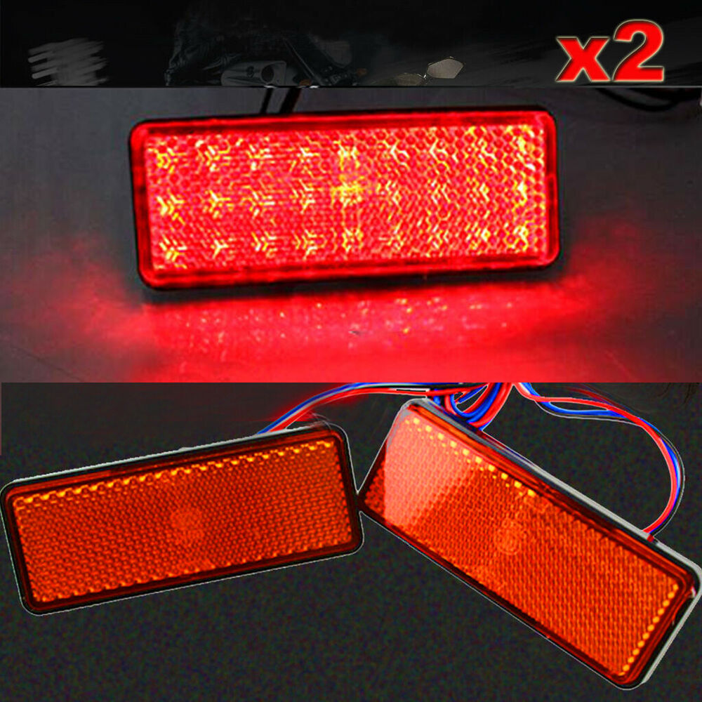 2pc Red Motorcycle Truck Led Light Rectangle Reflector