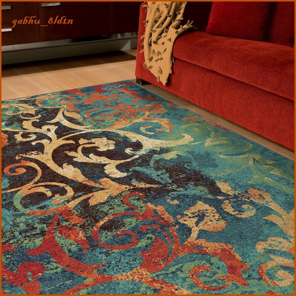 unique watercolor scroll area rug teal blue red orange