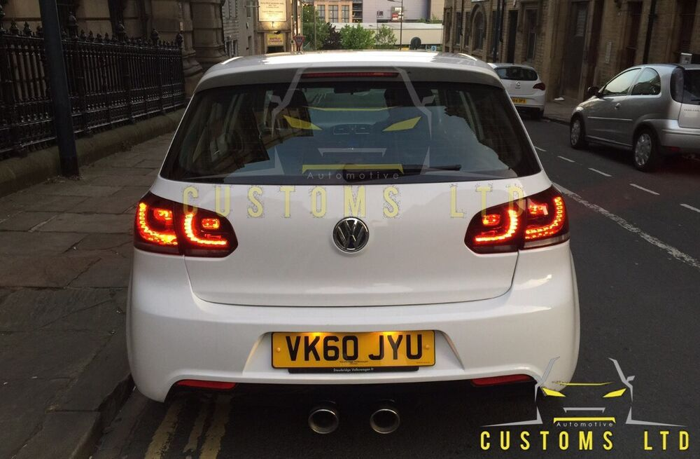 vw golf gtd gti r20 rear tinted led tail lights golf r mk6. Black Bedroom Furniture Sets. Home Design Ideas