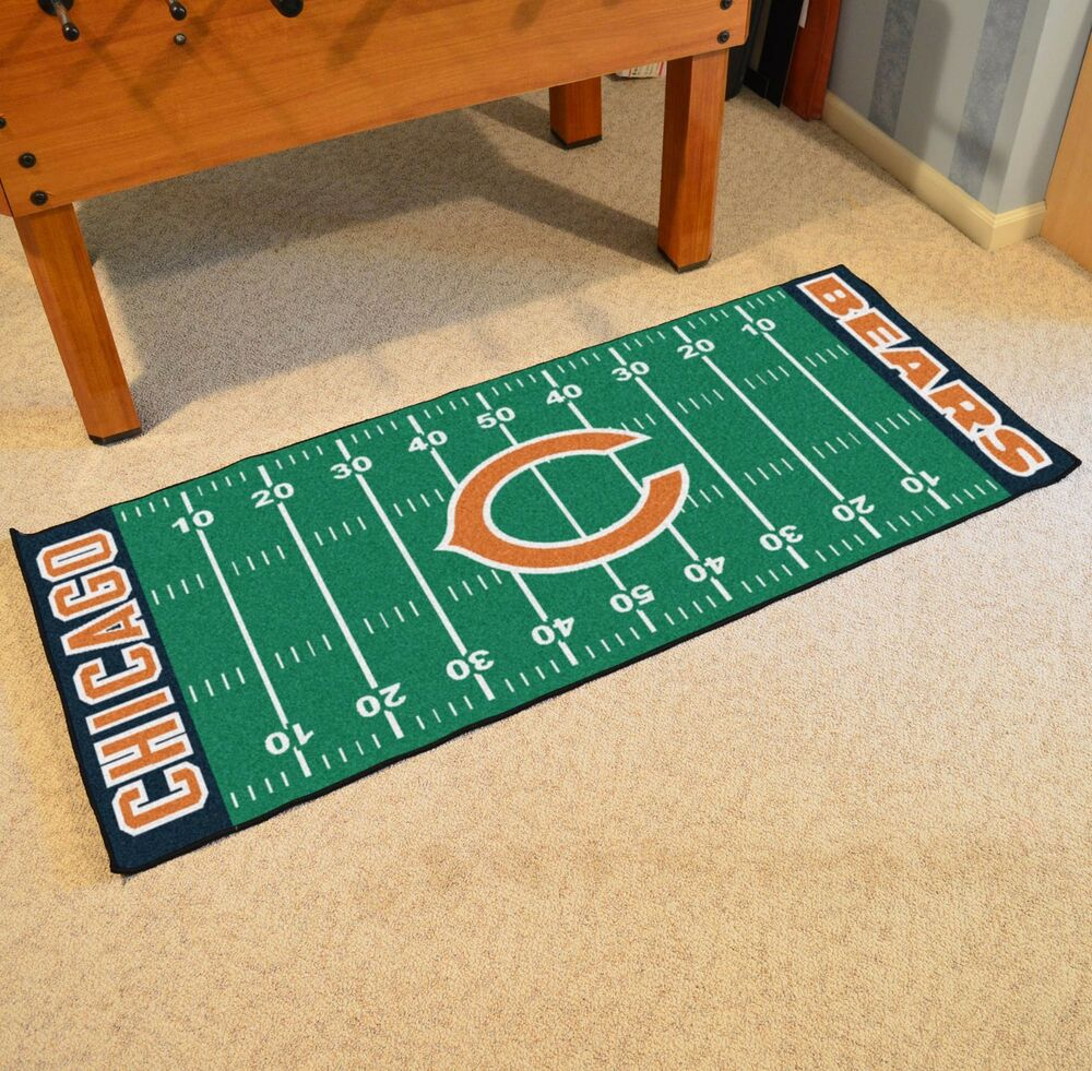 Chicago Bears NFL Football Field Runner Man Cave Area Rug