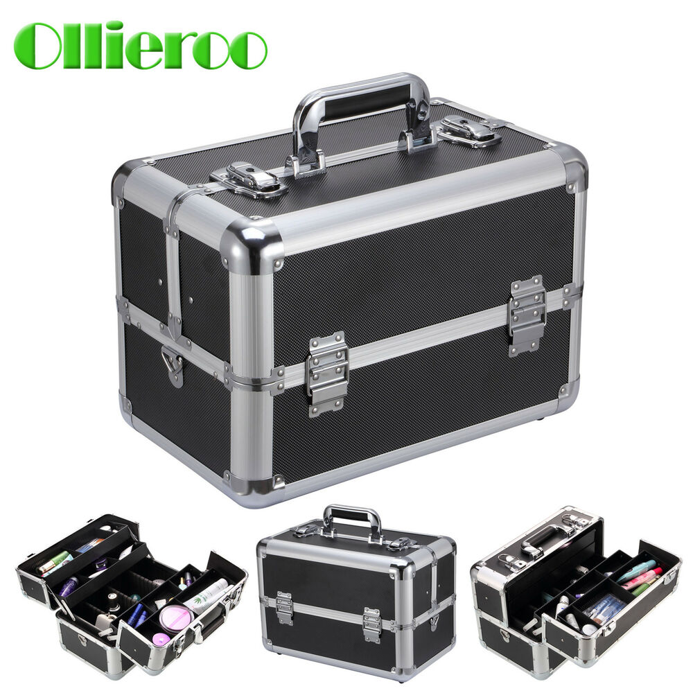 ollieroo 14 39 39 makeup train case jewelry box cosmetic. Black Bedroom Furniture Sets. Home Design Ideas