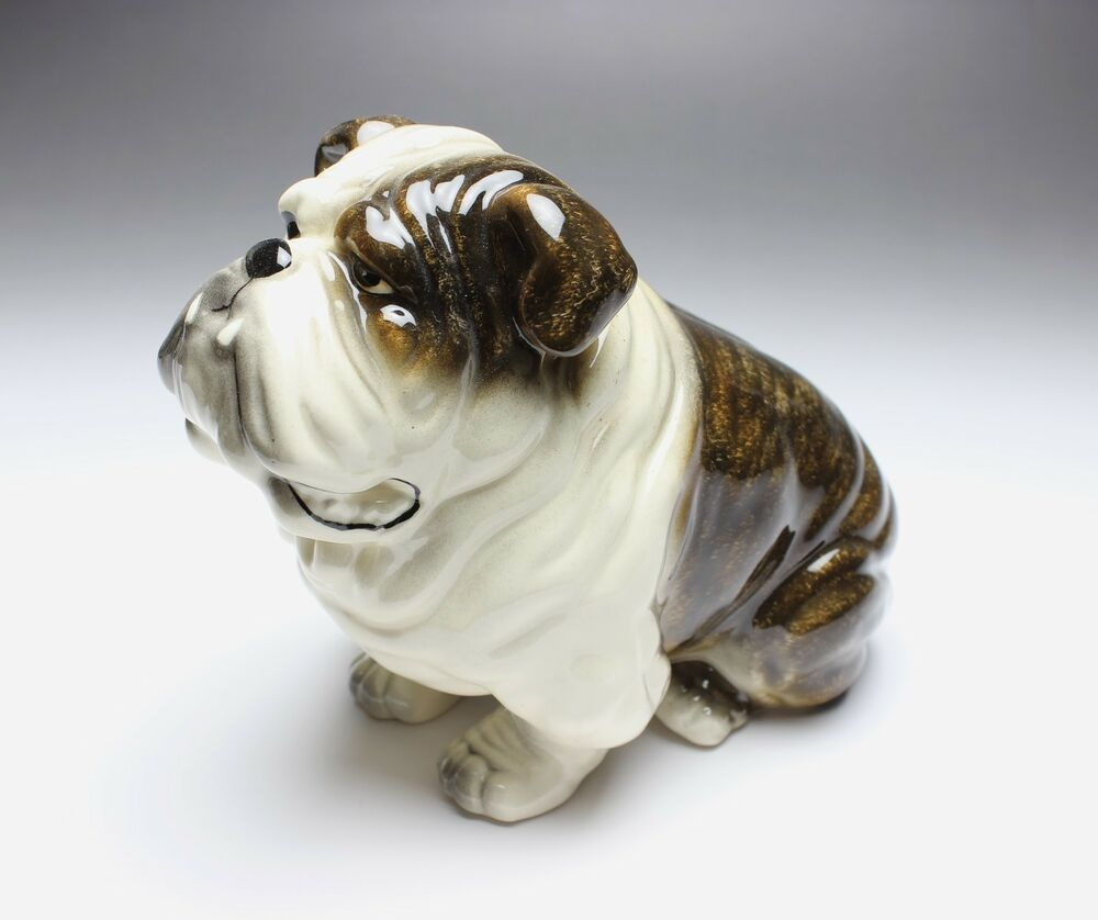 english bulldog figurine brindle white english bulldog sitting caricatured droopy 4968