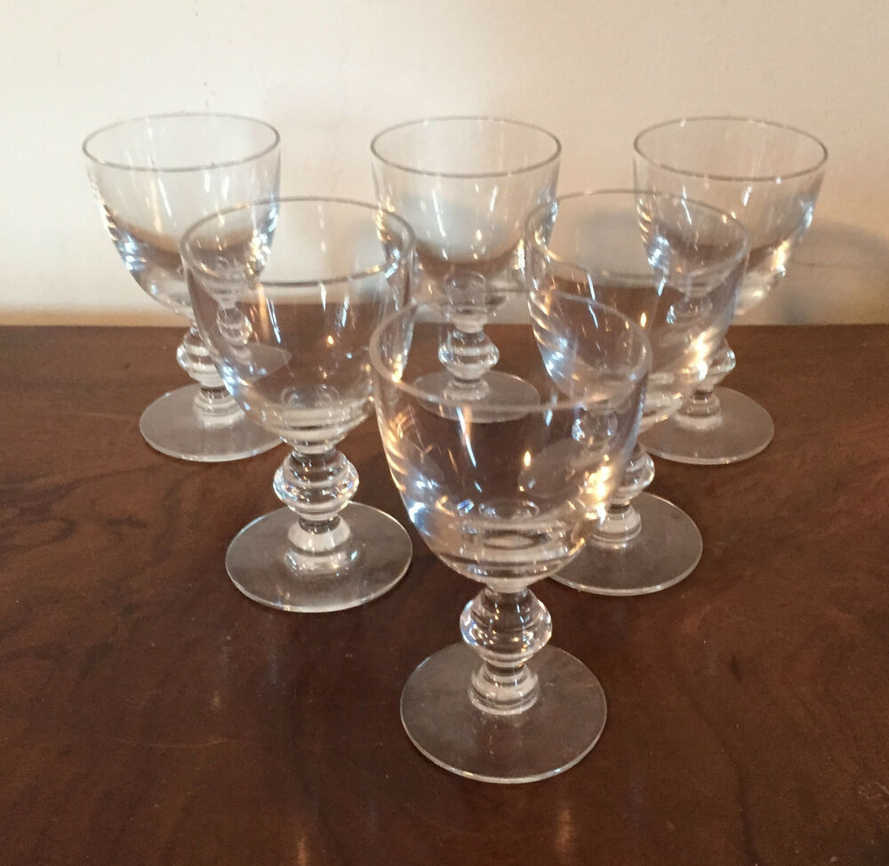 antique crystal sherry wine stem glass set of 6 ebay. Black Bedroom Furniture Sets. Home Design Ideas
