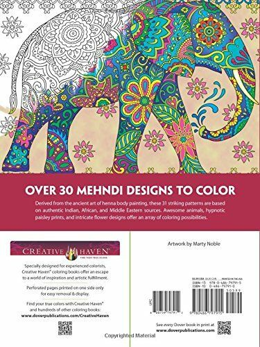 Creative Haven Mehndi Animal Designs Patterns Dover Coloring Book Adults Art Kid