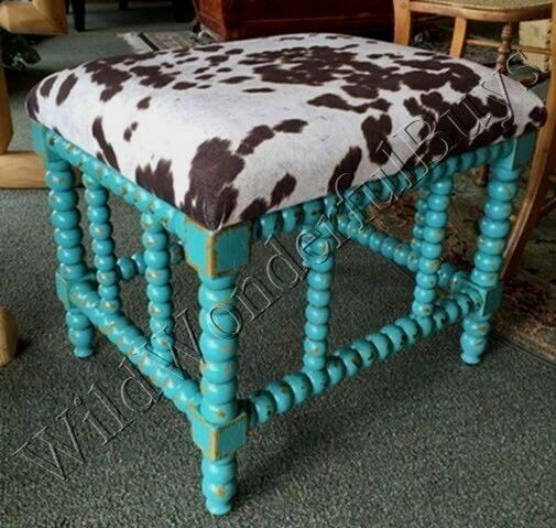 Cow Animal Hide Bench Wood Spindle Leg Turquoise Aqua Foot