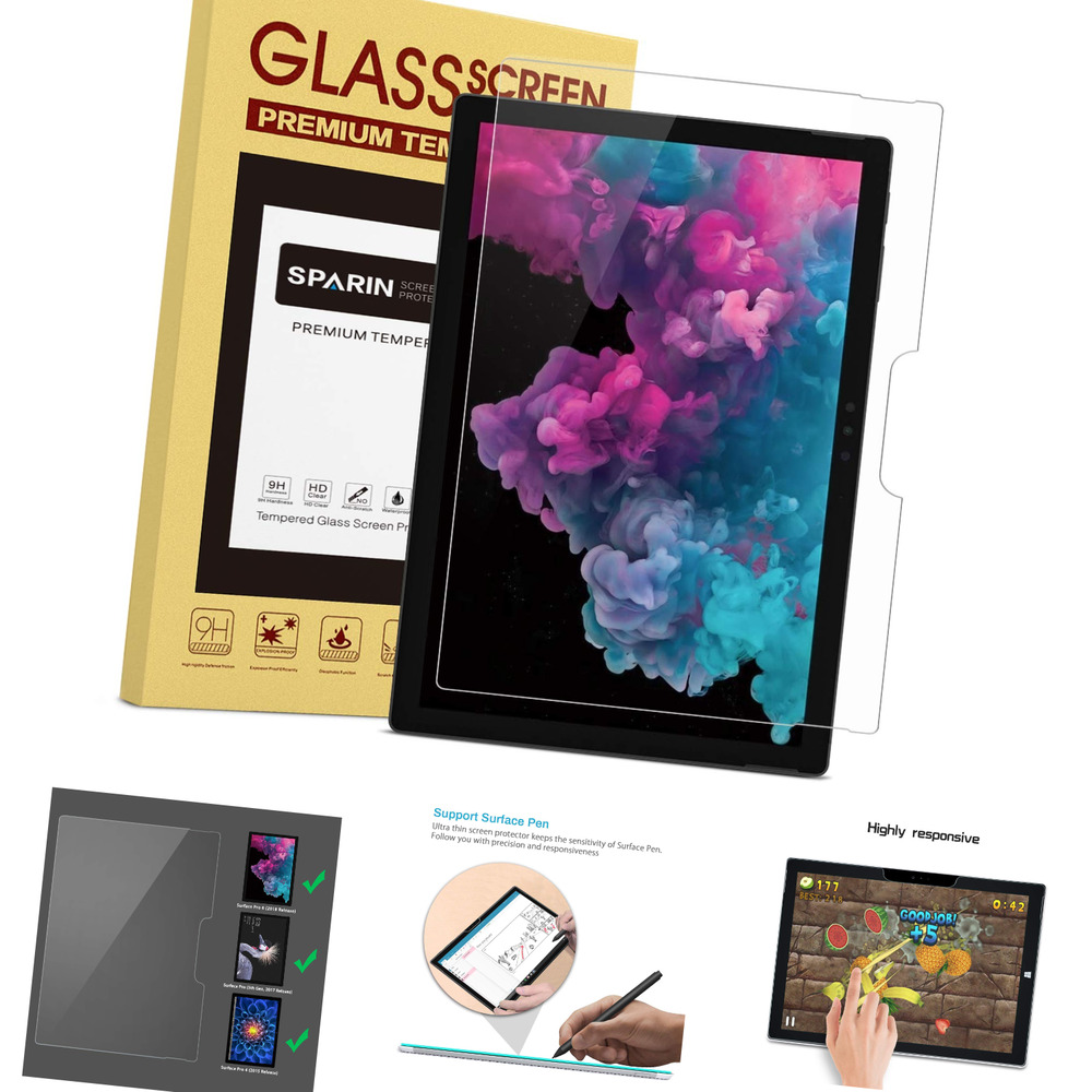 surface pro 4 screen protector tempered glass sparin ultra clear high defin ebay. Black Bedroom Furniture Sets. Home Design Ideas