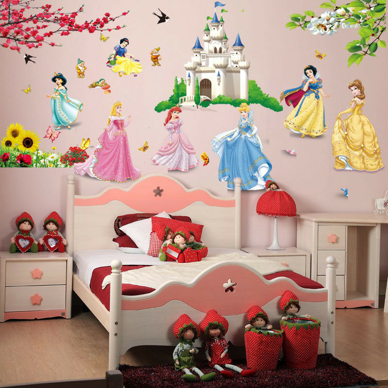 Fairy tale princess castle disney kids room girls room for Castle mural kids room