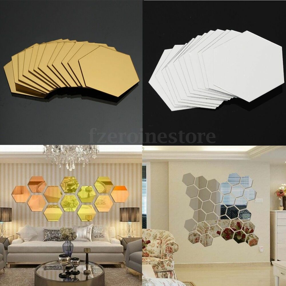 12PCS 3D MIRROR EFFECT GEOMETRIC HEXAGON ACRYLIC WALL ...