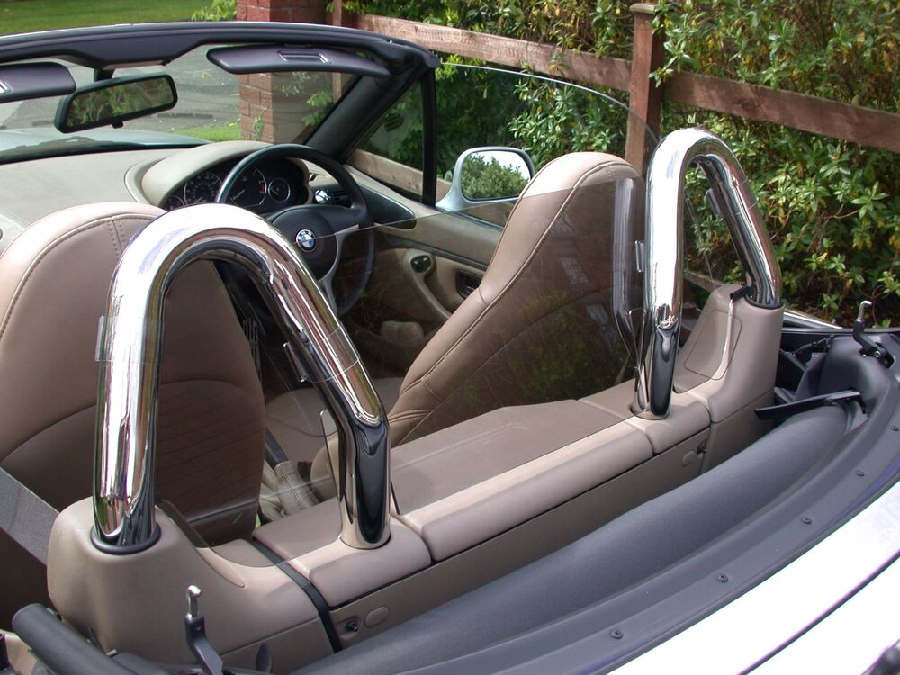 Bmw Z3 Wind Deflector Tinted To Fit Twin Chrome Hoops Roll Bars Not Included Ebay