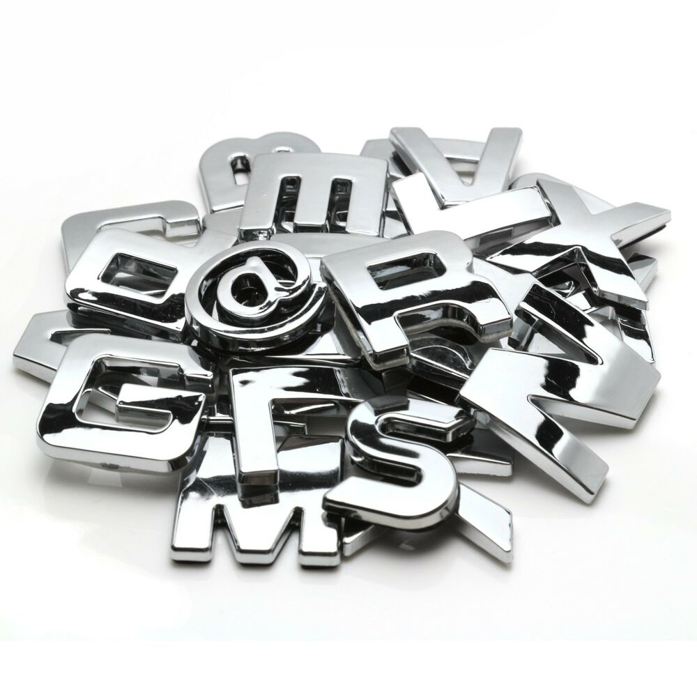 chrome 3d self adhesive letter number car badge emblelm With chrome letters home decor