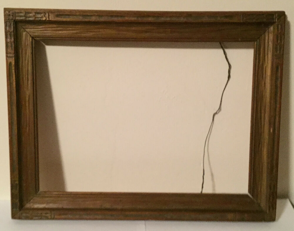 Antique Arts Crafts Picture Frame Carved And Giltwood