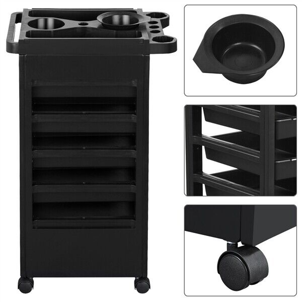 salon trolley cart hair beauty spa storage hairdresser equipment barber stylist styling rolling roller drawers coloring tray holder dryer colouring