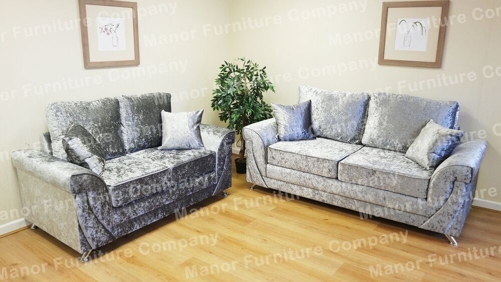 LUSH LAVA 2 AND 3 SEAT SOFAS SILVER CRUSHED VELVET EBay