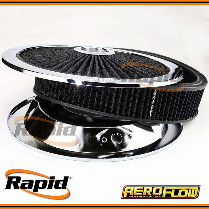 Drop Base Air Cleaner : Aeroflow chrome full flow air filter assembly with