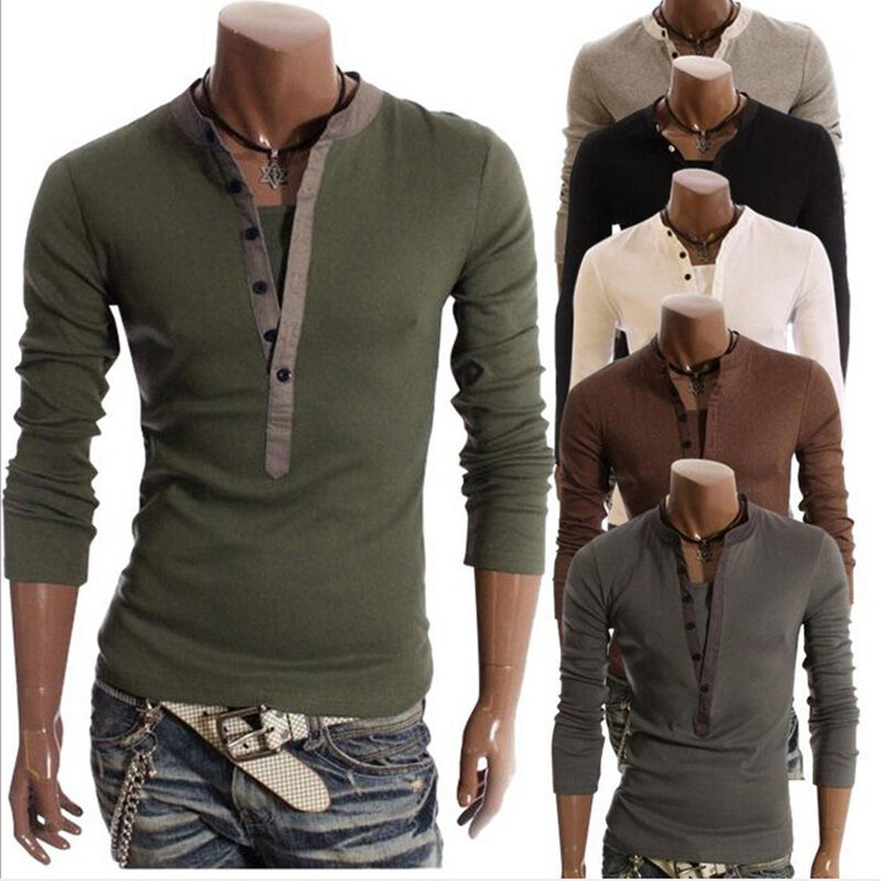 Fashion mens button front long sleeve t shirt v neck for Mens long sleeve t shirts sale