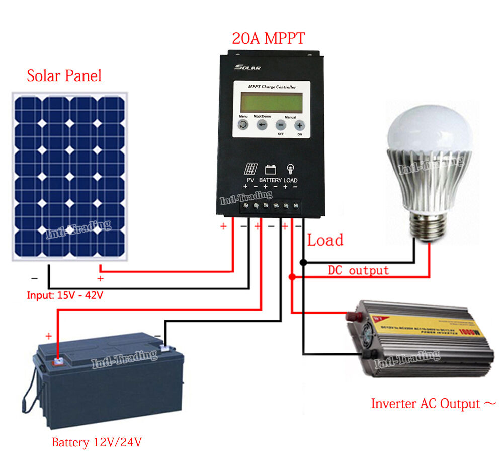 Mppt 20a Solar Charge Controller 12v  24v Pv Solar Panel Regulator W   Lcd Display