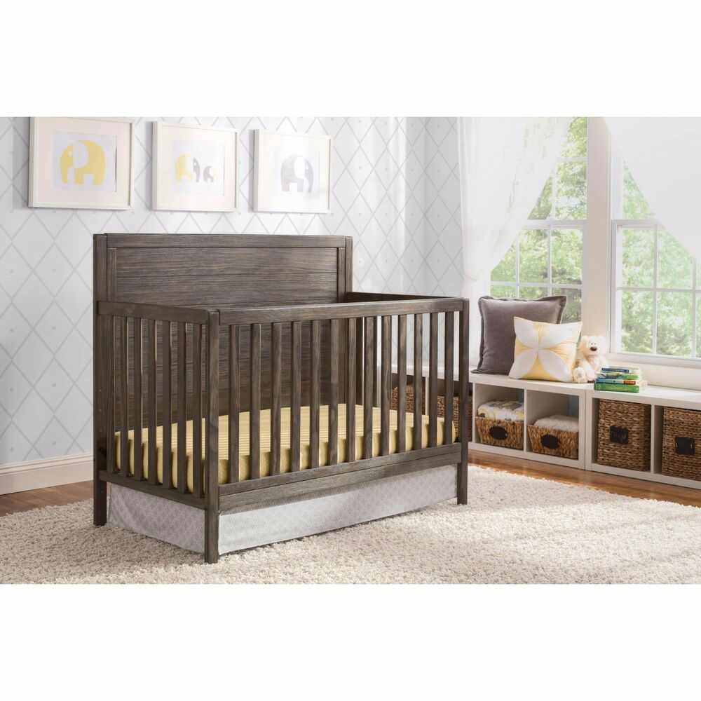 Convertible Crib 4in1 Rustic Grey Wood Child Bedroom