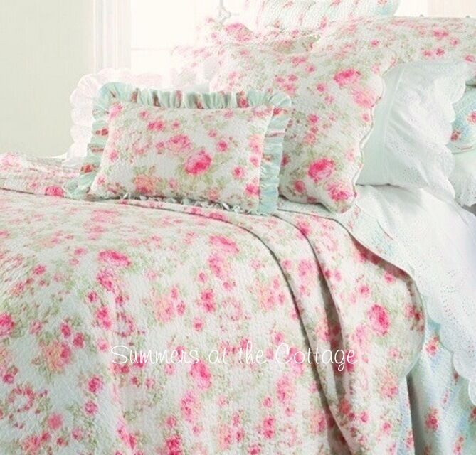 Summers Cottage Pink Peony Roses Aqua Shabby Cottage Chic