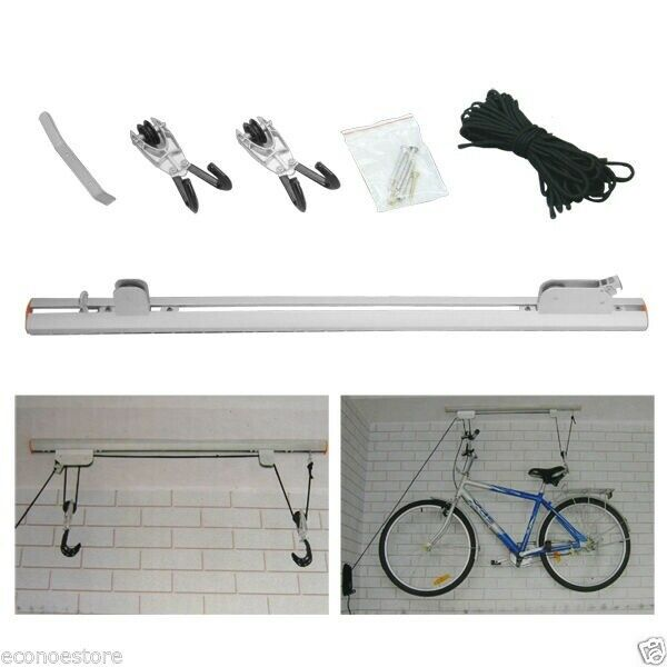 Lot Two Bicycle Rail Mount Lift Aluminum Ceiling Rack
