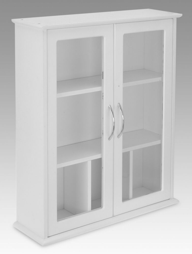 white 2 door wall mounted bathroom cabinet with glass doors ebay