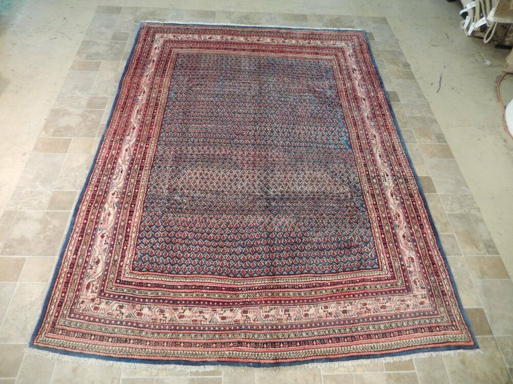 blue 7 39 x 10 39 sarouk area rug extremely durable hand knotted persian rug ebay. Black Bedroom Furniture Sets. Home Design Ideas
