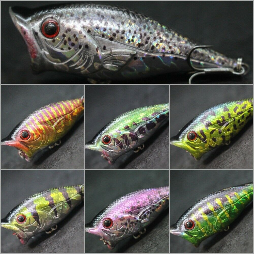 Wlure 2 1 2 inch topwater popper fishing lures for bass for Bass fishing lures