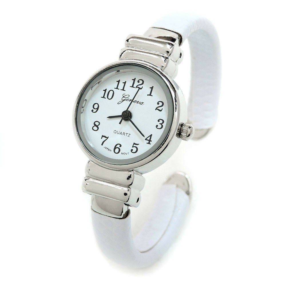 white silver snake style band small case geneva women 39 s bangle watch ebay