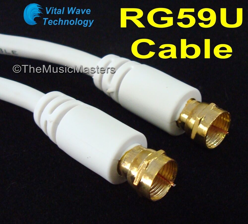 White 25 ft rg59u coaxial digital video cable hd tv - Cable antena satelite ...