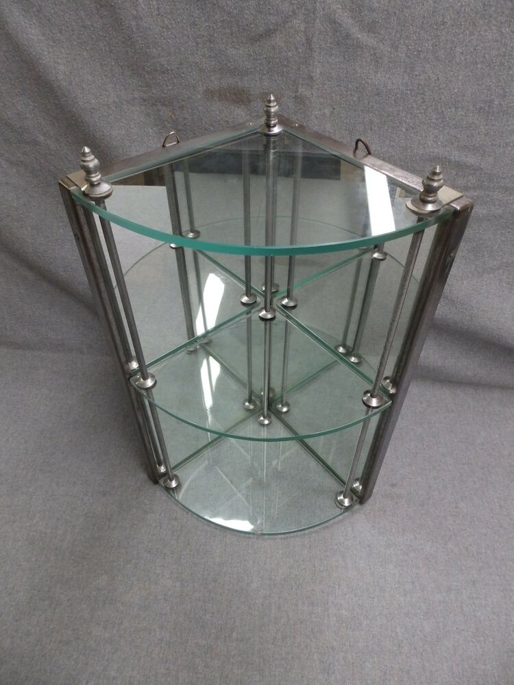 vintage chrome 3 tier bathroom glass corner shelf mirror. Black Bedroom Furniture Sets. Home Design Ideas