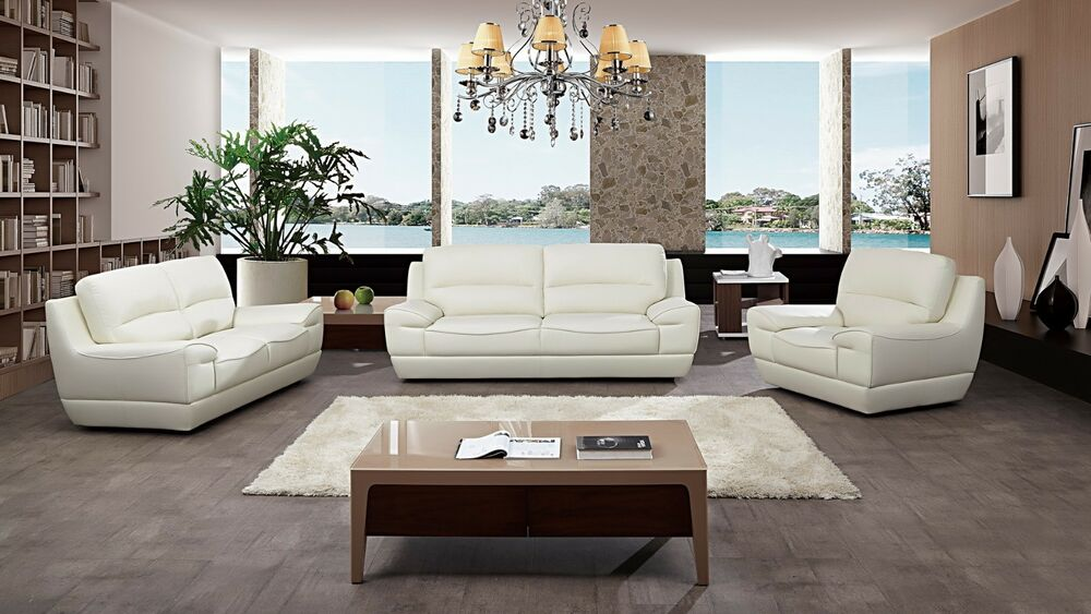 3 pc modern white italian top grain leather sofa loveseat chair living room set ebay - Modern living room furniture set ...