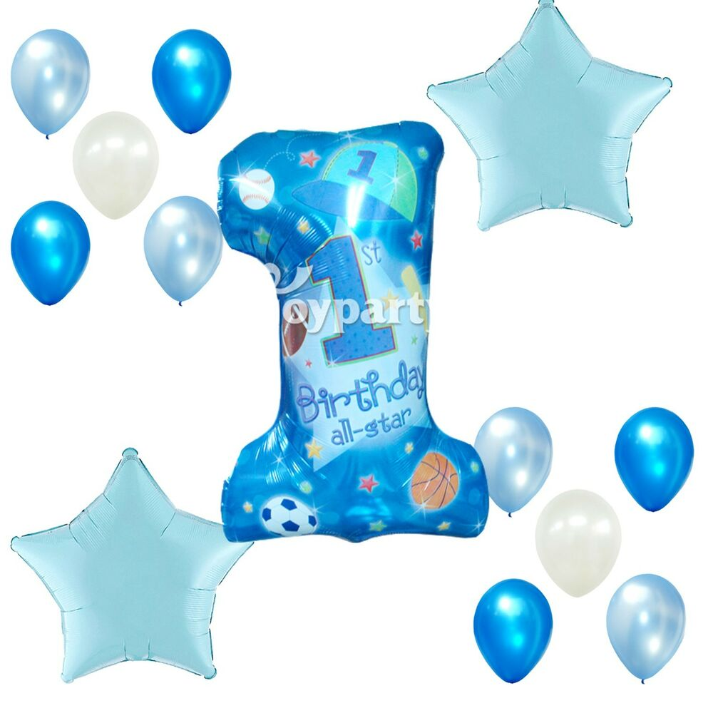 Paper Cut Out Blue Balloons First Birthday Decoration: 1st Birthday Party Boy Supplies Blue Star First Foil
