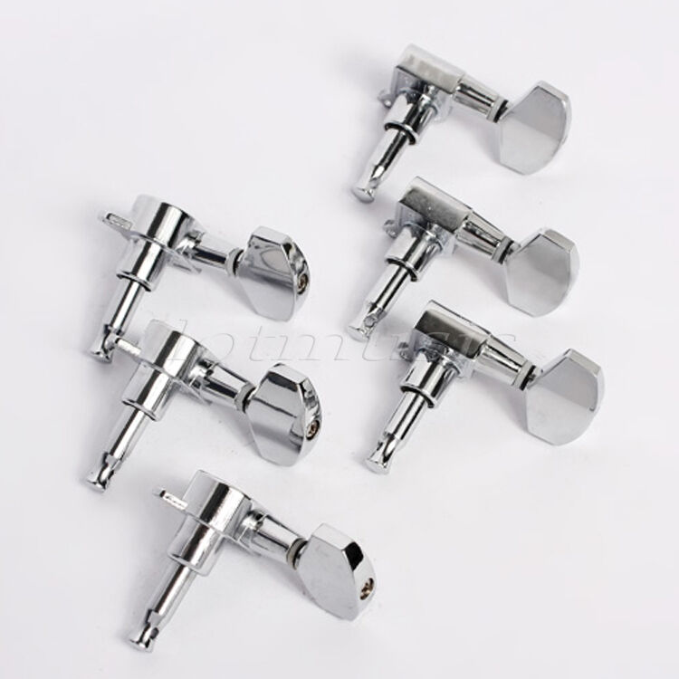 electric acoustic guitar string tuning pegs keys tuners machine heads chrome 3x3 ebay. Black Bedroom Furniture Sets. Home Design Ideas