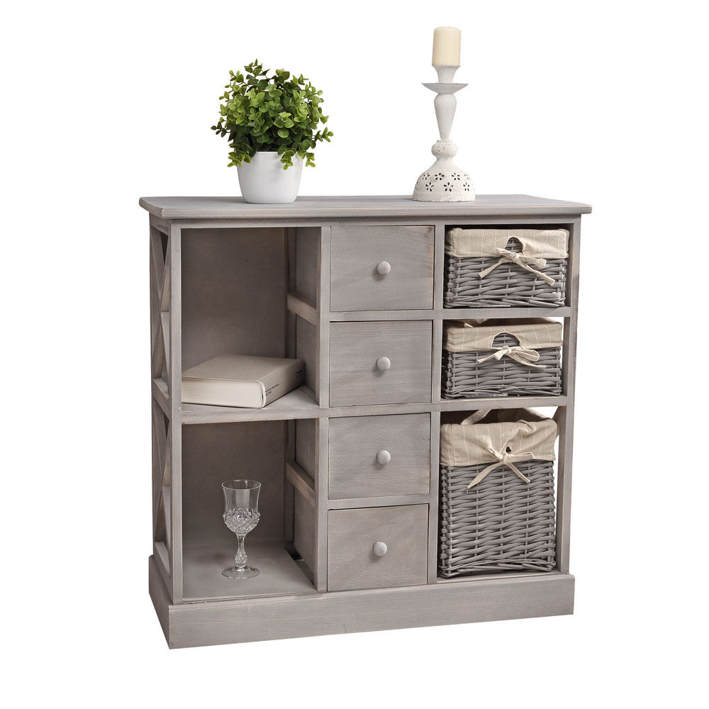 kommode schrank regal shabby chic grau mit 3 k rben. Black Bedroom Furniture Sets. Home Design Ideas