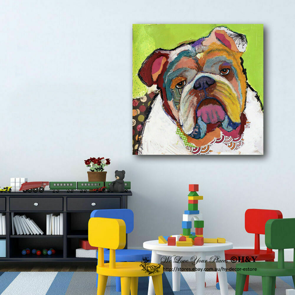 Abstract Bulldog Stretched Canvas Print Framed Kids Wall Art Decor Painting Gift Ebay