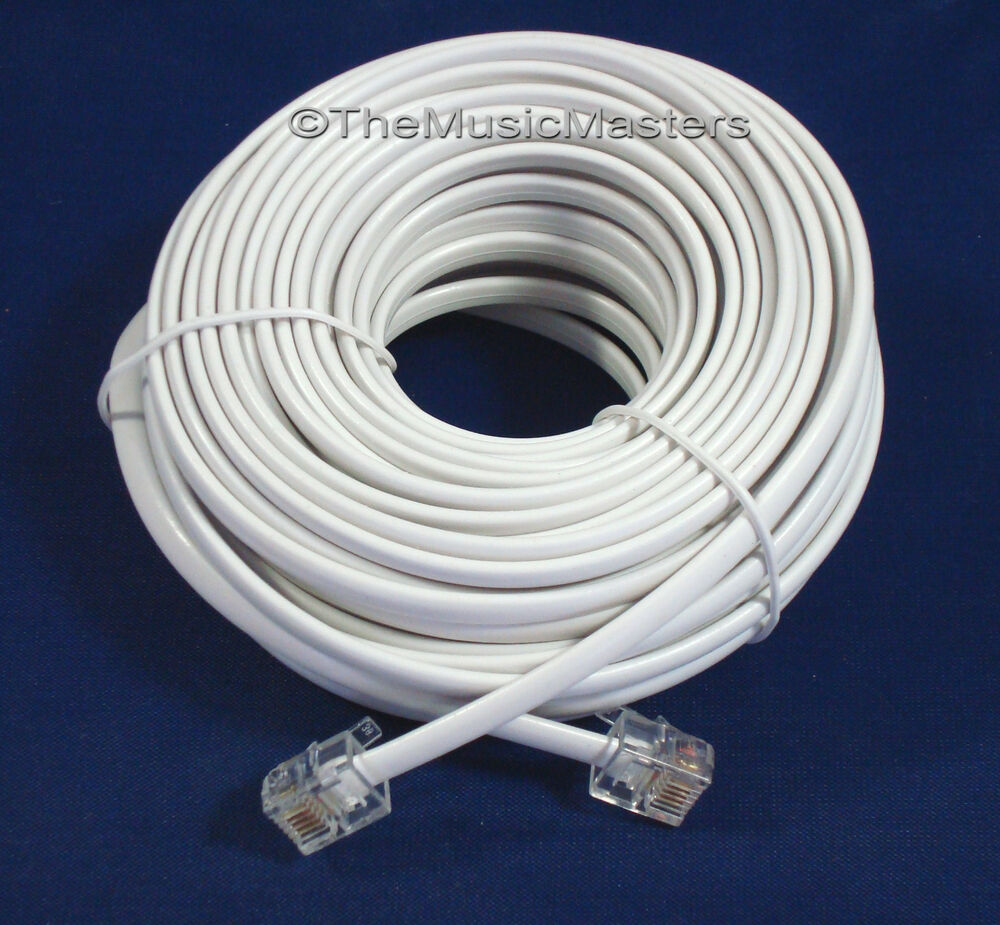 white 50 ft telephone modular line cord phone cable extension wire