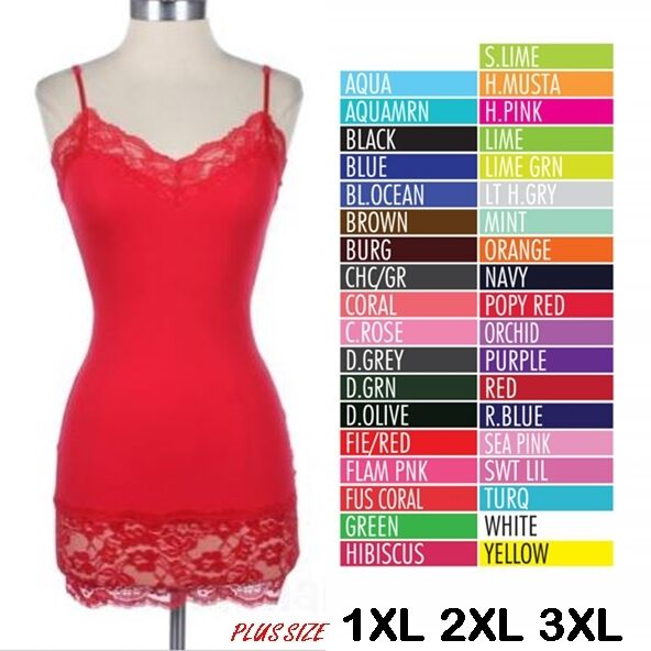 a1500bb9e0c Details about PLUS Women Basic Cami Camisole Lace Trim Spaghetti Strap Tank  Top Tunic 1X 2X 3X