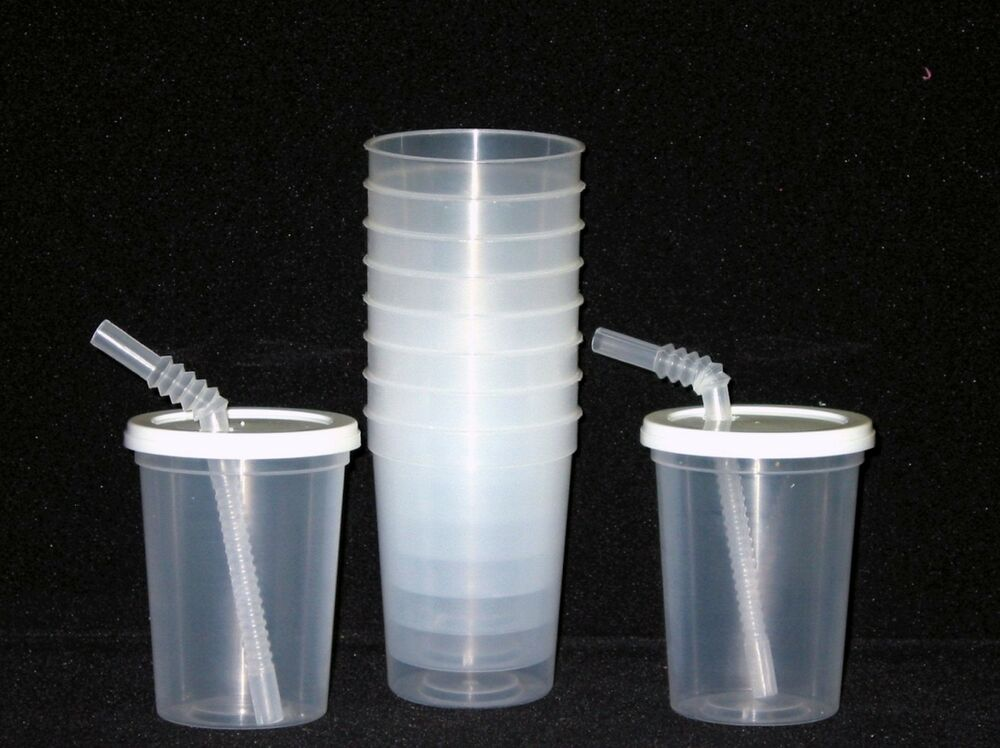 48 small 12 oz natural plastic drinking glasses lids for Small plastic cups