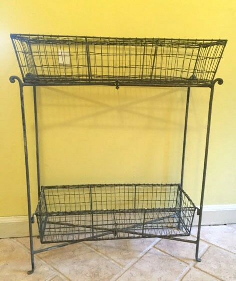 rustic wire basket metal kitchen rack cart storage baskets. Black Bedroom Furniture Sets. Home Design Ideas