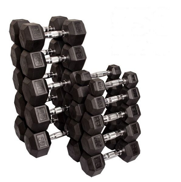 Dumbbell Set Up To 50: 5-50 Lb Rubber Coated Dumbbell Pairs, 20 Dumbbells, 550