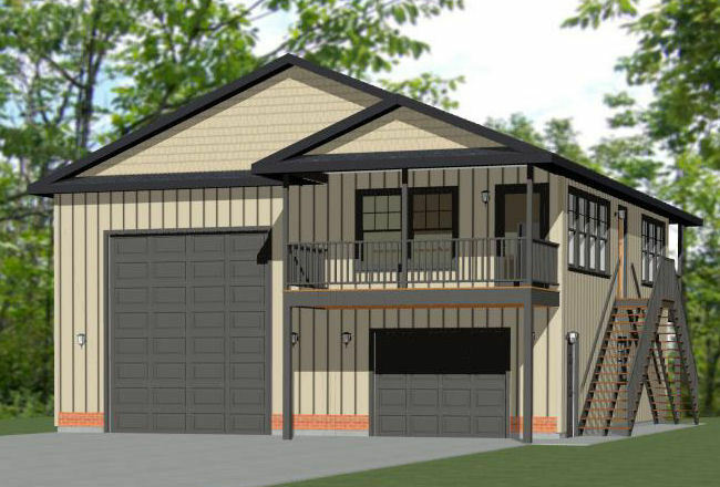 36x40 apartment with 1 car 1 rv garage 902 sqft pdf for Rv house plans