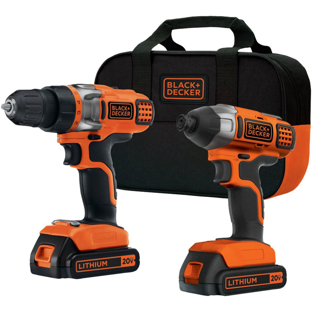 Black decker bdcd220ia 20 volt lithium ion drill and for Outils black et decker