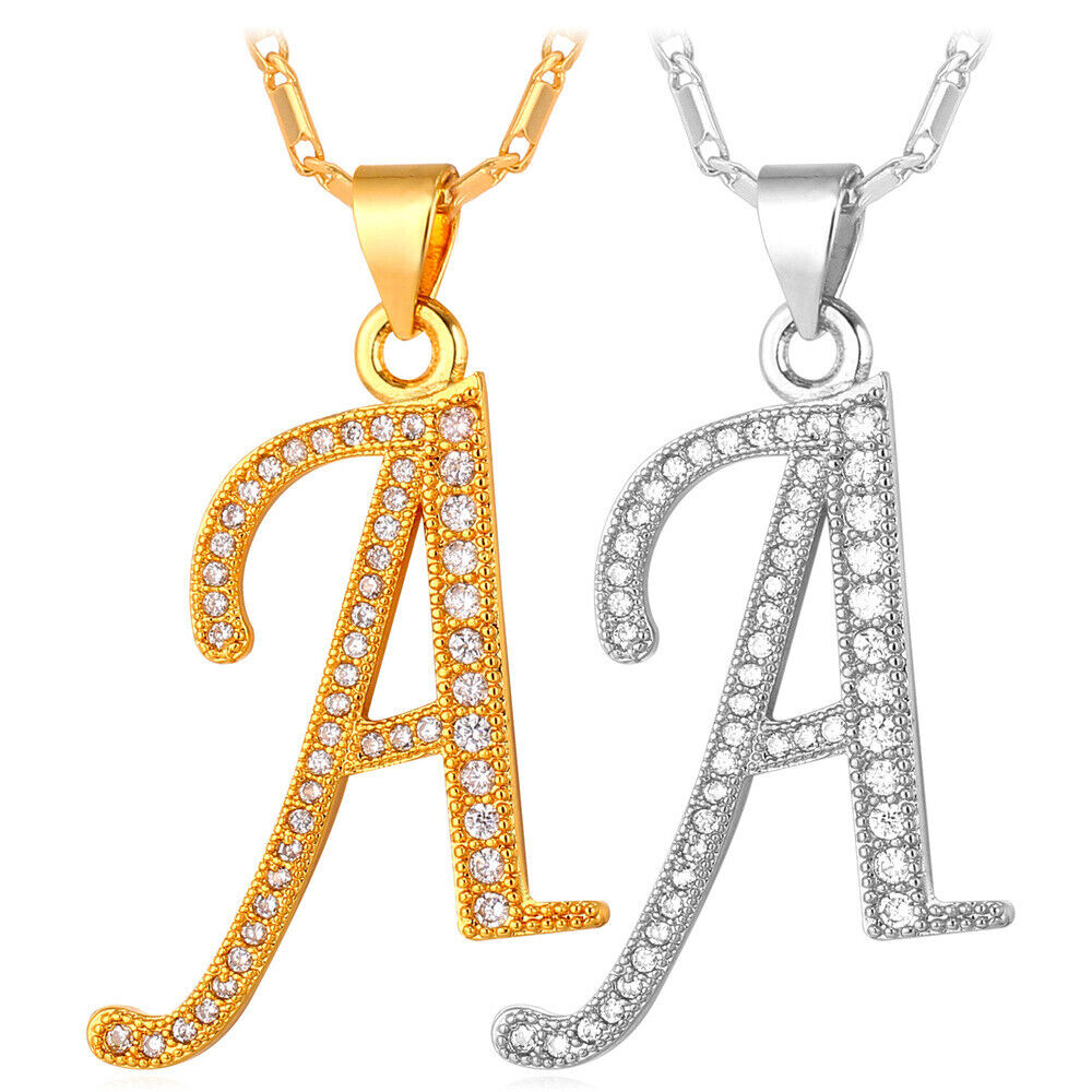 Alphabet Jewelry: Initial Alphabet Letter A-Z Pendant Necklace Gold Plated