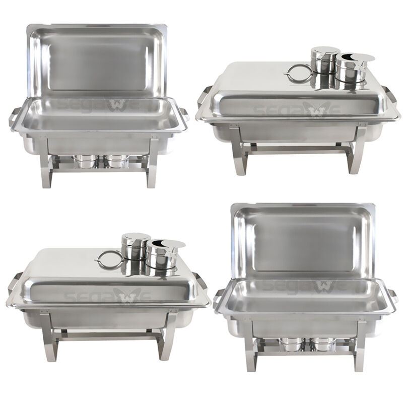 4 pack premier chafers stainless steel chafing dish 8 qt full size buffet trays ebay. Black Bedroom Furniture Sets. Home Design Ideas