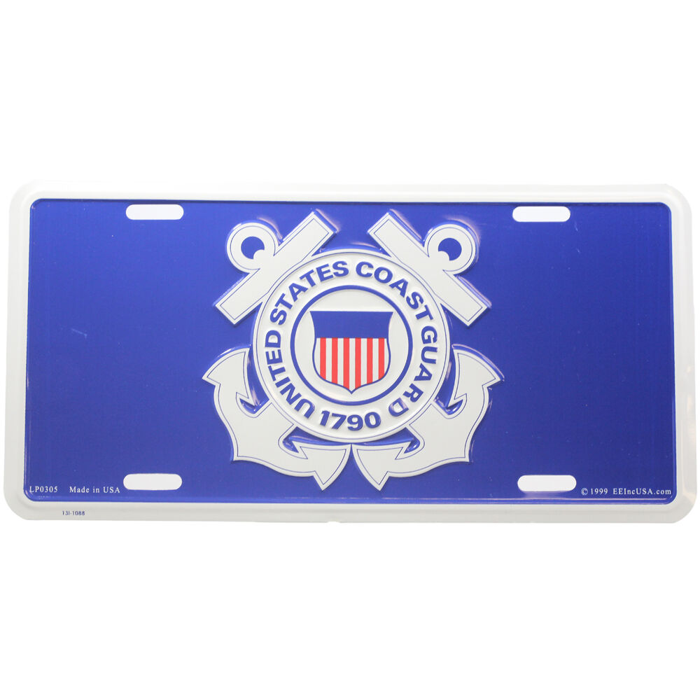Aluminum License Plate Frame >> US Coast Guard Logo License Plate | eBay