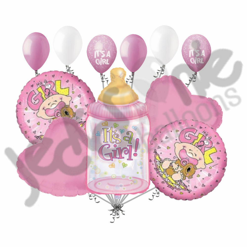 11 pc its a girl baby bottle balloon bouquet decoration for Balloon decoration for baby girl