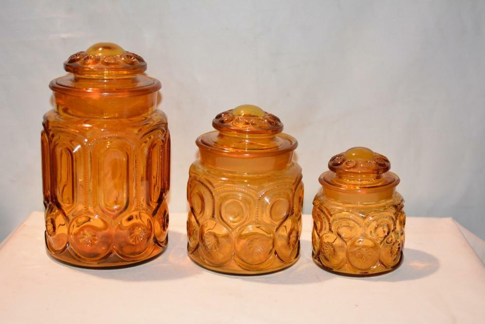 vintage glass canisters kitchen lot 3 antique vintage depression glass canister 22581