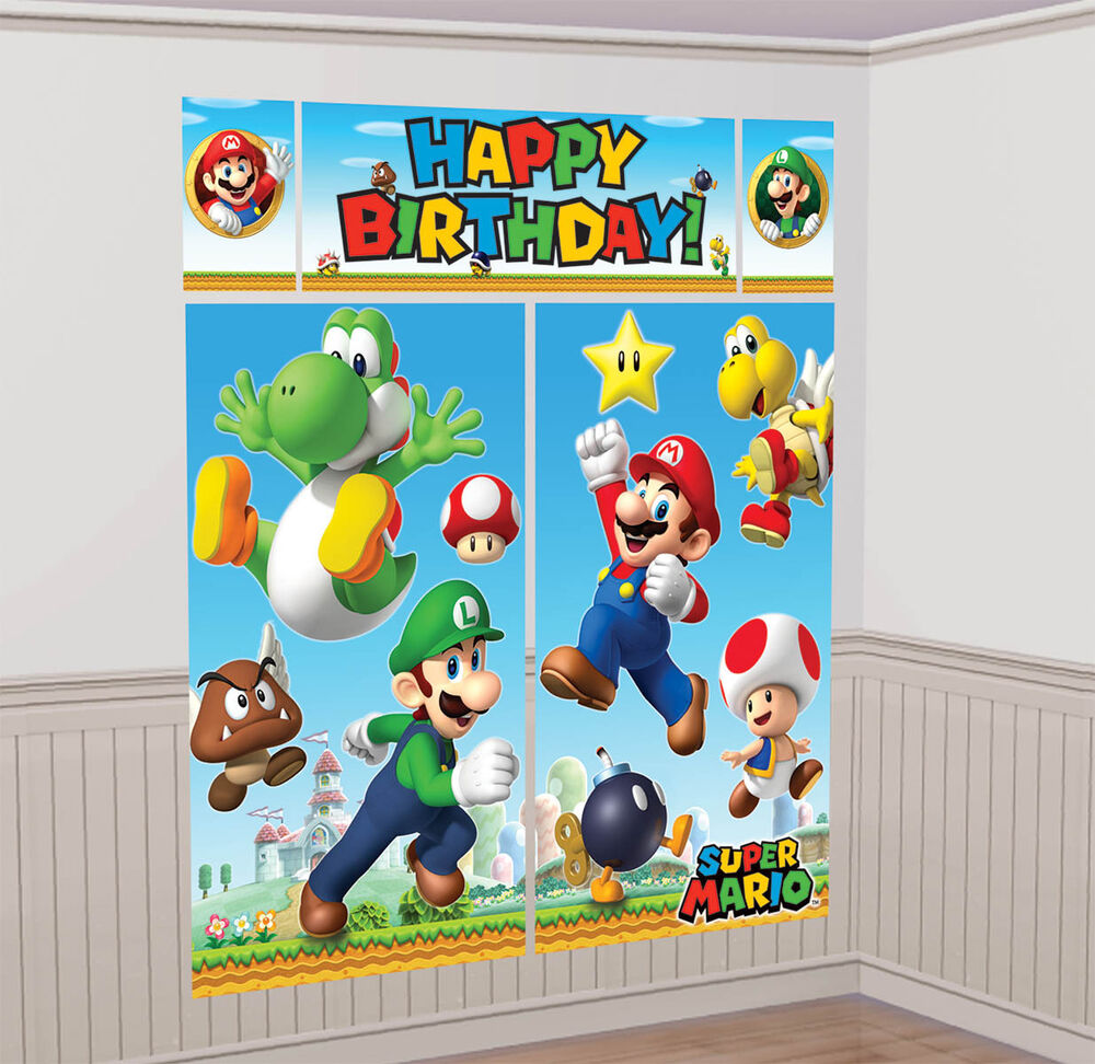 Super Mario Bros Gaming Birthday Party Scene Setter Wall