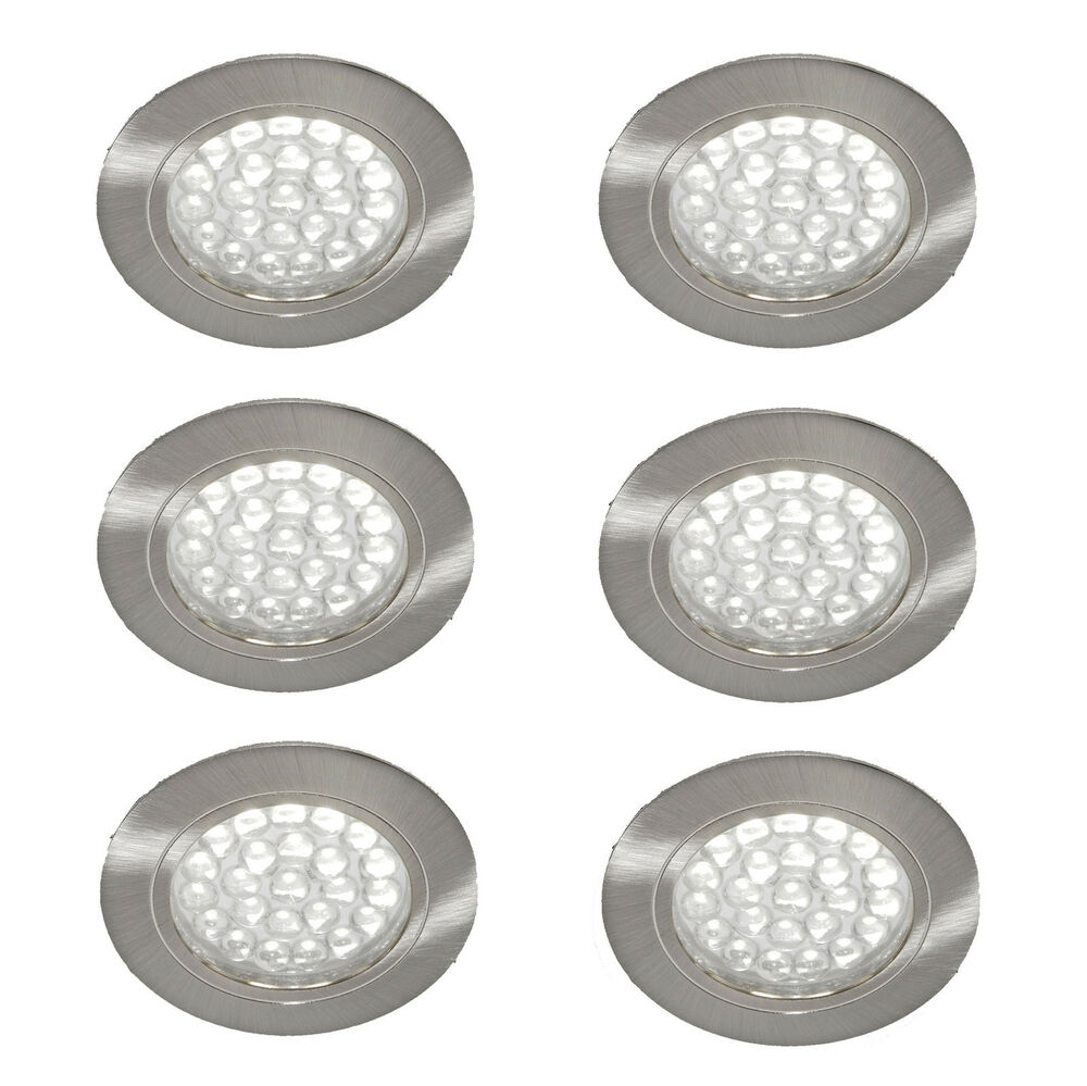 6 x 12v recessed spot lights downlights caravan motorhome boat cool white led 39 s ebay. Black Bedroom Furniture Sets. Home Design Ideas