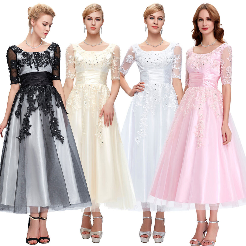 Tea Gown: Tea Length Lace Wedding Prom Ball Gown Evening Formal